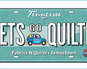 Row by Row Experience 2017 Fabric License Plate-Lets Go QuilTN-RxR
