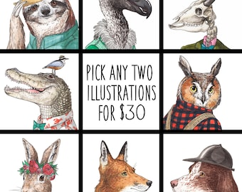 Pick Any Two Illustrations - Archival Print