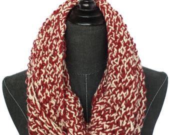 Red Knit Scarf | Chunky Scarf | Cranberry | Fall Knit Scarf | Infinity Scarf | Winter Scarf | Circle Scarf | Game Day Scarf