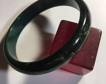 Vintage Blue Moon Marbled Bakelite Bangle Bracelet
