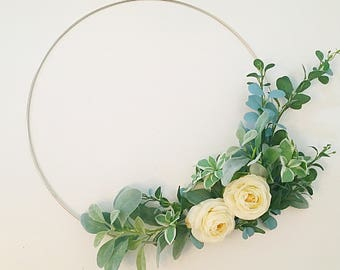 Hoop wreath, modern wreath, wedding wreath, door wreath, front door wreath, wedding bouquet alternative