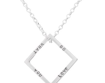 Men's Sterling Silver Personalized Geometric Square Necklace, Gold plated, Men's necklaces/jewelry, Personalized jewelry, Geometric jewelry