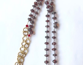 Garnet rondelle, Gold overlay, Red gray lampwork Necklace,