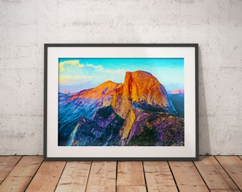 Half Dome Yosemite Print, Landscape Painting, National Park Poster, Yosemite National Park, Yosemite Painting