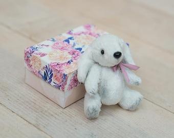 OOAK Miniature stuffed animal height 10 cm Teddy Dog white puppy newborn prop Blythe friend for dollhouse