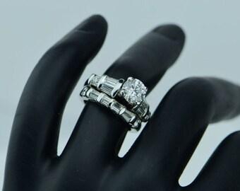 14K White Gold Diamond Engagement Ring & Wedding Band Set, Size 4.25