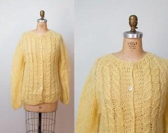 1960s Mohair Sweater / 60s Yellow Wool Cardigan