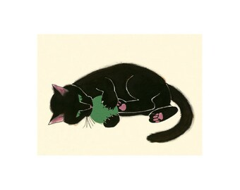 """Black cat art print - Black Kitten - Claws and Effect - 6"""" X 4"""" - 4 for 3 SALE"""