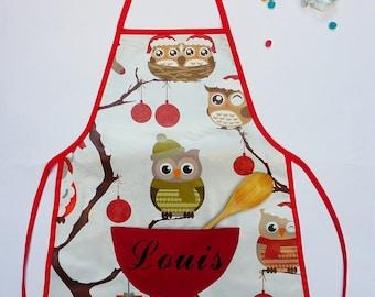 Apron child customizable owls pattern