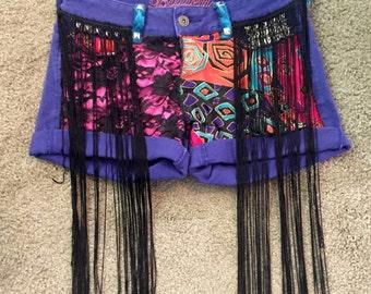 Custom Studded Bohemian Festival Denim Shorts Burning Man