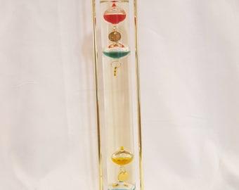 ON SALE, Galileo Thermometer, Vintage Thermometer, Colorful Thermometer, Glass Thermometer, Home Decor, Unique thermometer, tall thermometer