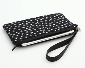 Cute iPhone 8 Wristlet, Galaxy S8 Purse, Padded Large Smartphone Pouch, Cell Phone Bag, Mini Makeup Wrist Bag - black white dog paw prints