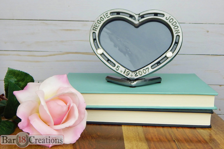 Hufeisen Herz Hochzeitsgeschenk Personalisierte Bilderrahmen
