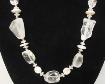Quartz Jewelry, Rock Crystal Necklace, Crystal Quartz Gems, Quartz and Pearl Necklace, Handmade Necklace, Healing Gems, Bridal, Gift for Her