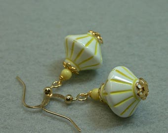 Vintage Italian Lucite Yellow White Earrings Dangle Drop Bi Cone Bead ,Gold French Ear Wires- GIFT WRAPPED