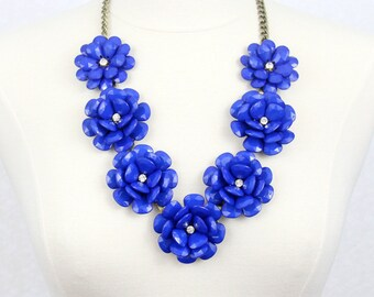 Beaded Rose Necklace Chunky Flower Statement Necklace Royal Blue