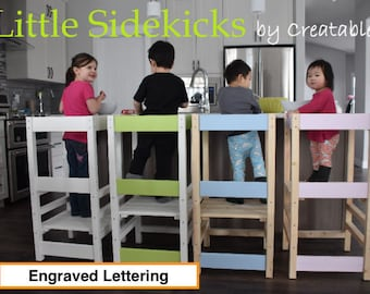 Learning Tower - Little Sidekick a Kitchen Helper - Kitchen Learning Stool - Safety Stool- Engraved