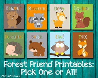 Woodland Wall Art. Forest Animal Nursery Decor. Playroom Decor. Forest Animals Birthday Party Decor. Forest Animals. Raccoon. Fox. Deer, Owl