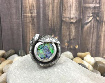 Cultured opal ring, silver cast twig and leaf ring, garden ring, opal ring, nest ring, leaf and twig, nature jewelry, branch ring, sterling