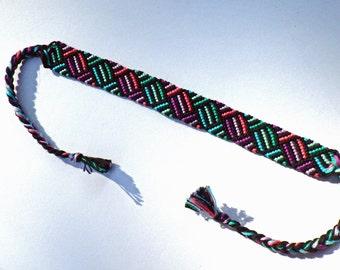 Purple  and Green Woven Friendship Bracelet