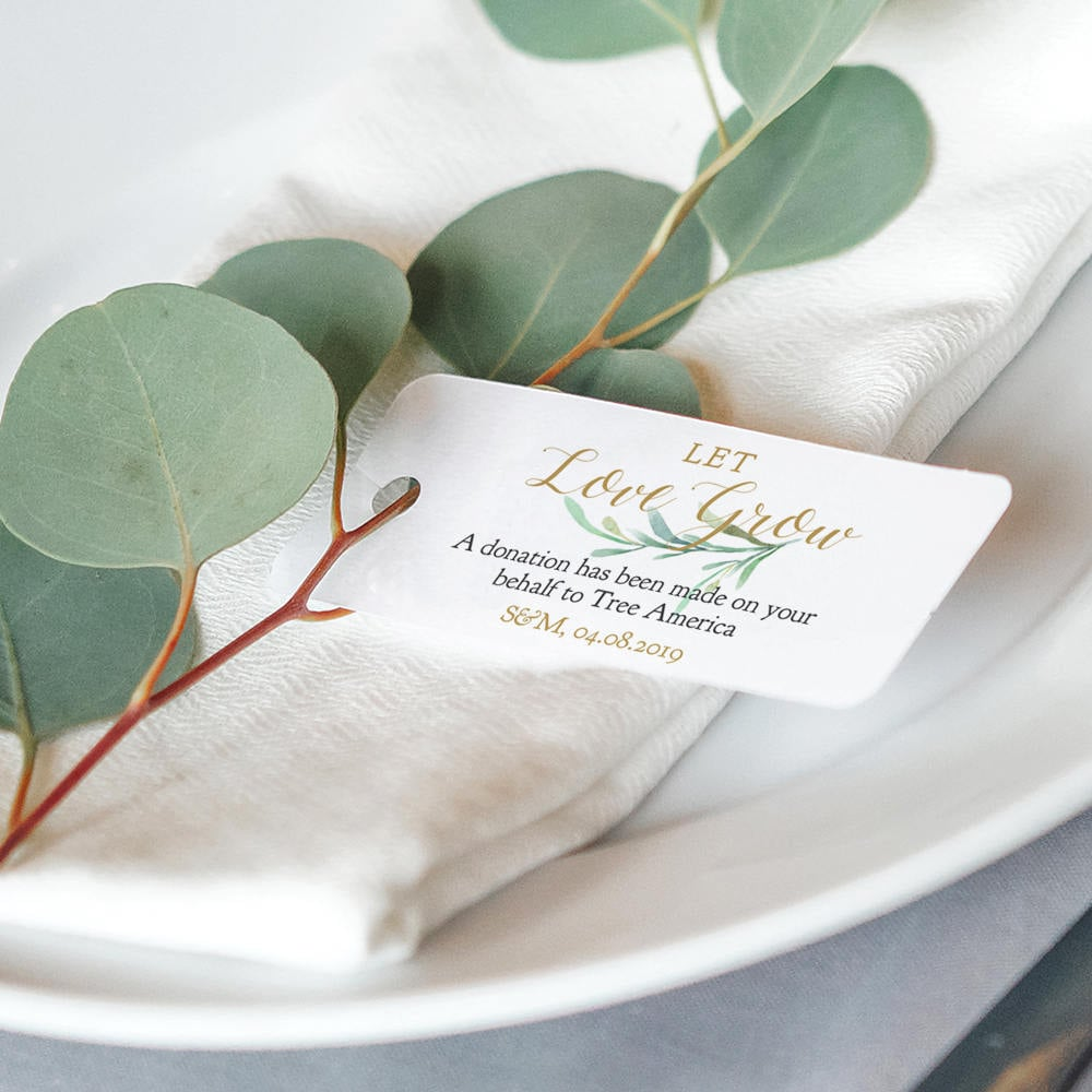 Favor Donation Tags 3.25x1.25 Let Love Grow Charity