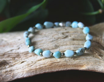 Larimar Pyrite Beaded Stretch Bracelet