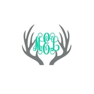 monogrammed deer antlers // Deer antlers decal // Hunting decal // Deer decal // Deer antlers // monogram deer antlers //