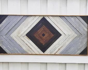 """18x40"""" Rustic Wood Wall Art - Gray, White & Brown. Wooden Wall Art, Geometric Wall Art, Wall Art, Reclaimed Wood Art, Modern Wall Art,"""