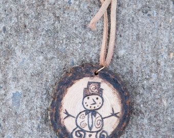 Woodburn snowman ornament - made to order