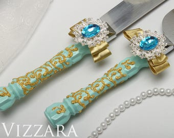 Cake server set Mint wedding Cake cutter and server Mint and gold wedding cheap Wedding cake knife and server Mint green and gold wedding