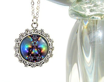 Abstract Art Necklace, Chakra Aura Jewelry, Reiki Attuned Pendant Necklace