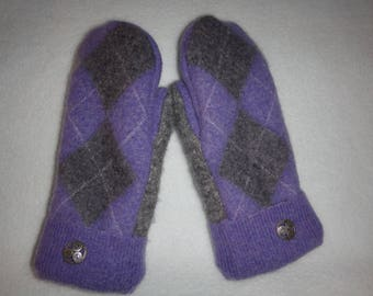 Ladies Upcycled Wool Mittens Purple and Grey Argyle pattern