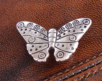 4 butterflies, for leather or cord, antique silver