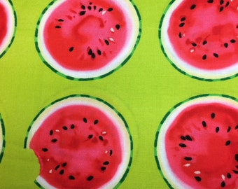 Kanvas MAD FOR MELON (Take A Bite - Green) 100% Cotton Premium Fabric - sold by 1/2 yard