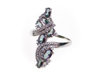 Vintage Mystic Topaz Statement Ring, Silver Tone, Size 9