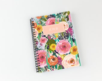 Writing journal, soft cover, book, blank spiral notebook, sketchbook, paper for notes, custom - bright floral watercolor pattern