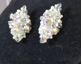 Vintage 1990's pierced Aurora Borealis EARRINGS 3cm - 1990s Jewelry - Vintage Jewellery - CRYSTAL girl Jewelry - 90s Jewellery
