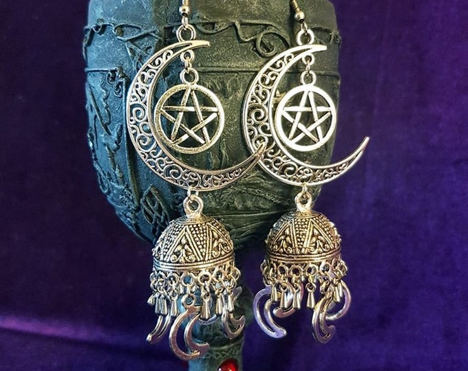 Elegant MoonGoddess Earrings - occult wiccan modern paganism wicca jewellery crescent moon earrings