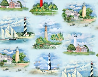 Fat Quarter Lighthouses Coastal Cotton Quilting Fabric - Elizabeth's Studio