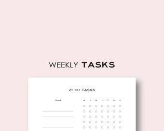 Weekly Tasks, Checklist, Workflow  (8.5x11 inches) - Printable - Planner Insert - Instant Download
