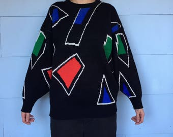 Geometric 80's Multicolor Sweater