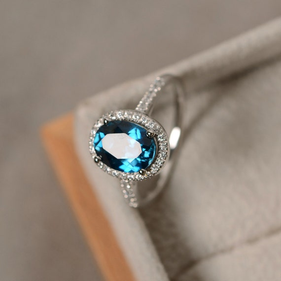 London Blue Topaz Ring Oval Gemstone Sterling Silver Halo