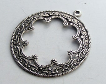 LuxeOrnaments Oxidized Sterling Silver Plated Brass Stamping Floral Frame Focal with or without loop (1 pc) U201-VJS F-387-2