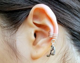 171) No Piercing Antique Silver Music Note Charm Ear Cuff