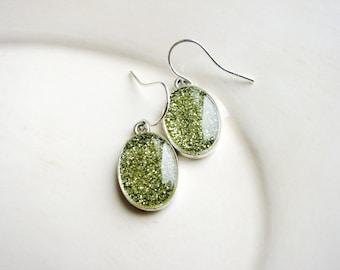 Gold Glitter Earrings, Yellow Glitter Earrings, Bridal Jewelry, Resin Earrings, Minimalist Earrings, Simple Dangle Earrings