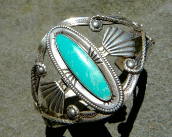Native American Turquoise Bracelet,Turquoise Sterling Silver,Bell Trading,Fred Harvey,Vintage Tourist Bracelet,Turquoise Silver Bracelet