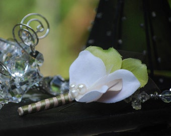 Boutonniere - Buttonhole Ivory Pearls & Olive Green Champagne, Manly Preppy Groom, Luxe Elegant Stylish Lapel Flower Pin, Statement Keepsake