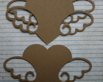 3 Extra Large Heart with wings bare chipboard die cuts die cuts