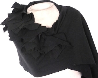 Knit fabric Scarf with ruffle details/long wrap around scarf/shawl scarf with ruffle
