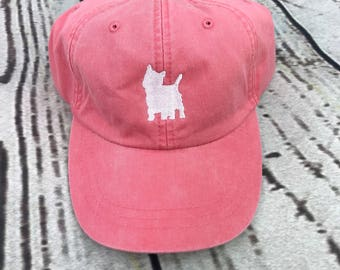 Westie hat, Dog baseball hat, Westie baseball cap, pigment dyed hat, West Highland Terrier outline cap, Terrier
